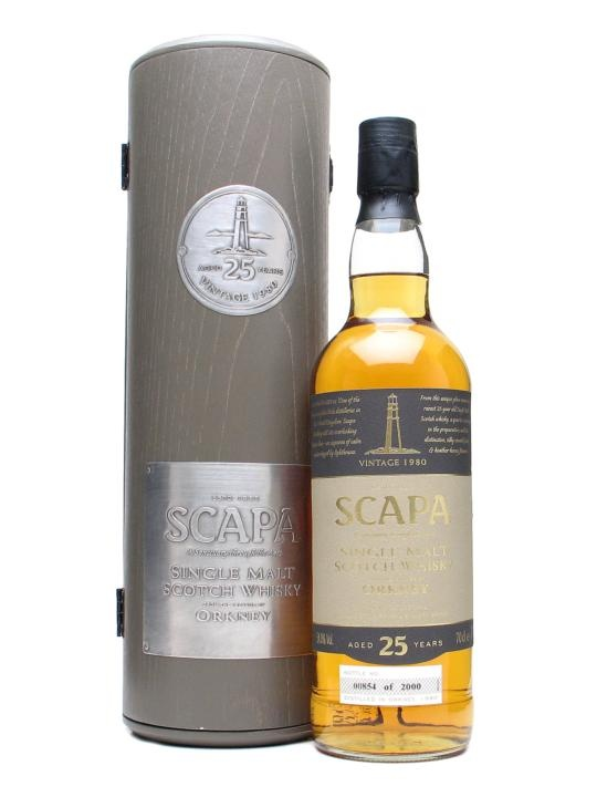 Scapa 1980 / 25 Year Old : Buy Online - The Whisky Exchange - Scapa 1980 is a belter of a malt from a distillery frequently overlooked in favour of its more famous Orcadian neighbour, Highland Park. Well-presented and bottled at natural cask strength for add...