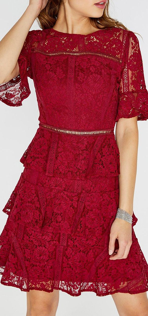 bd10e318f6cd Red Berry Lace Midi Dress. Perfect colour for an October   November Wedding  guest outfit