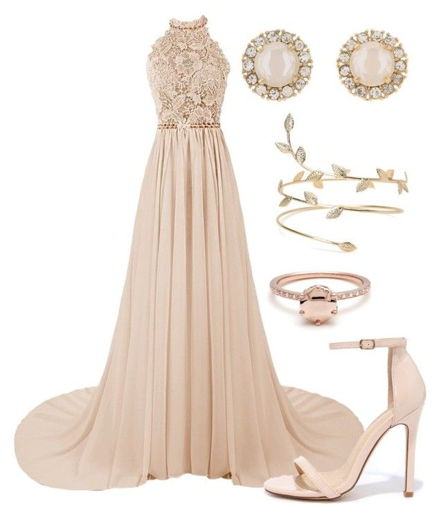 """""""Floral Halter Neck Blush Pink Prom Dress with Pink Heels and Gold Floral Arm Cuff"""" by danihope ❤ liked on Polyvore featuring Liliana and Kate Spade"""