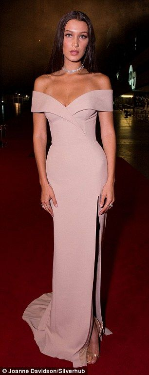 Elegant: The young model looked divine in her off the shoulder dress on Tuesday evening