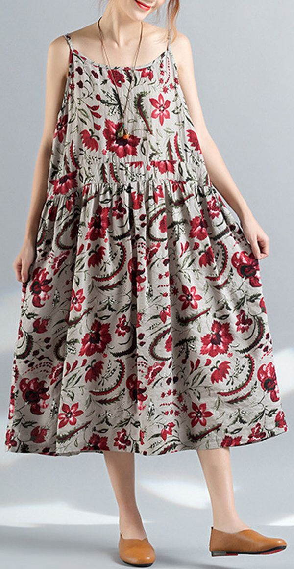 [Newchic Online Shopping] 47%OFF Floral Printed Spaghetti Strap Vintage Dresses For Women #womenswear #womenswear