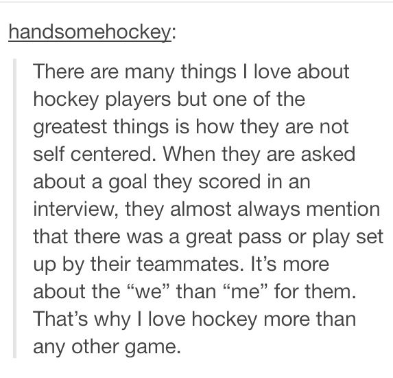 Just another reason why I love hockey....