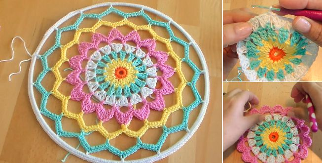 This pattern includes complete instructions for how to make and assemble the wall hanging and crochet patterns for the doily center and the feathers.