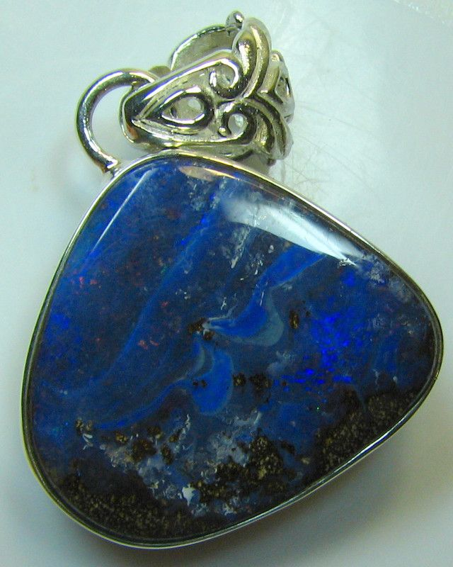 HAND MADE SILVER STAMP 925 BOULDER OPAL PENDANT 38.95 CTS