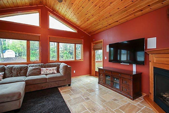 Sun Room In Floor Heat Knotty Pine Vaulted Ceiling And