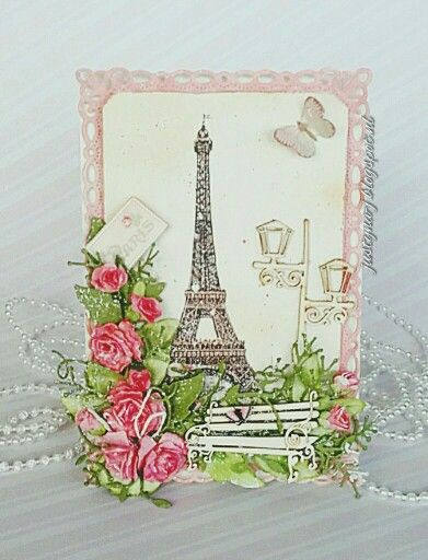 Paris- Eiffel tower. Birthday card. Chipboard  scrapiniec.pl/…/Lawki-male-zestaw-Park-Avenue-small-be…/2857 scrapiniec.pl/pl/p/Latarenka-04-Park-Avenue-lantern-04/2854 Papier:piondesign.se/paper-collections/paris-flea-market