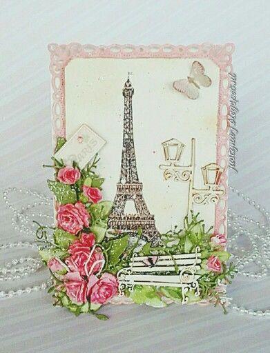 Paris- Eiffel tower. Birthday card. Chipboard  scrapiniec.pl/…/Lawki-male-zestaw-Park-Avenue-small-be…/2857 scrapiniec.pl/pl/p/Latarenka-04-Park-Avenue-lantern-04/2854 Papier:piondesign.se/paper-collections/paris-flea-market