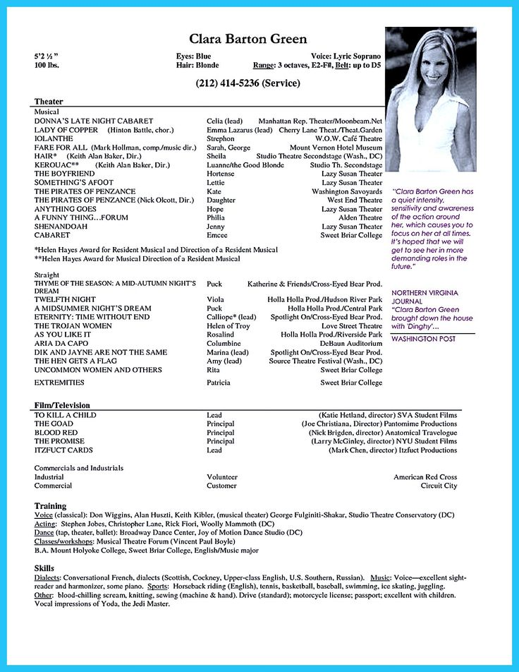 Acting Resume Example Acting Resume Sample Presents Your Skills And