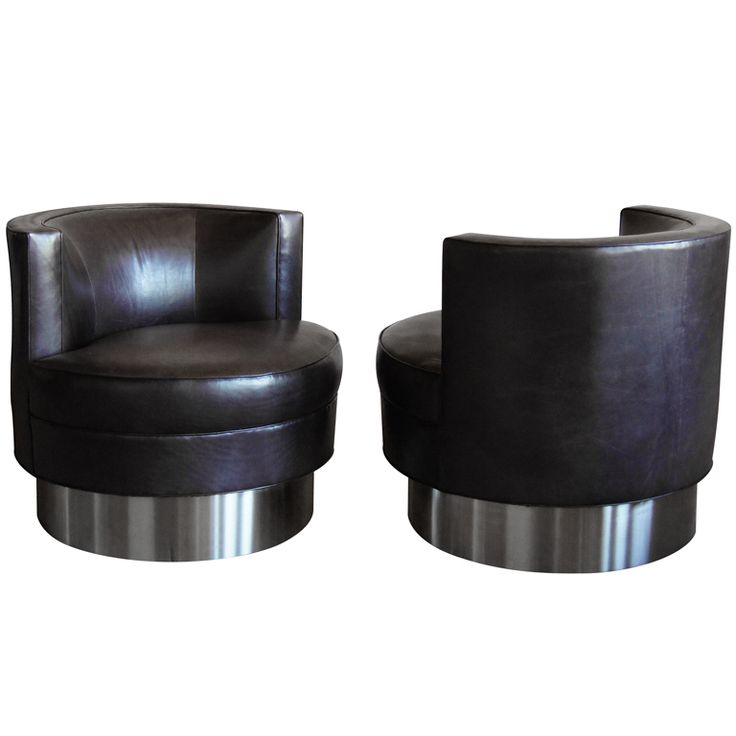 Pair Of Harvey Probber Swivel Chairs With Stainless Steel Base USA Pair Of Harvey  Probber Swivel, Barrel Chair With Stainless Steel Base.