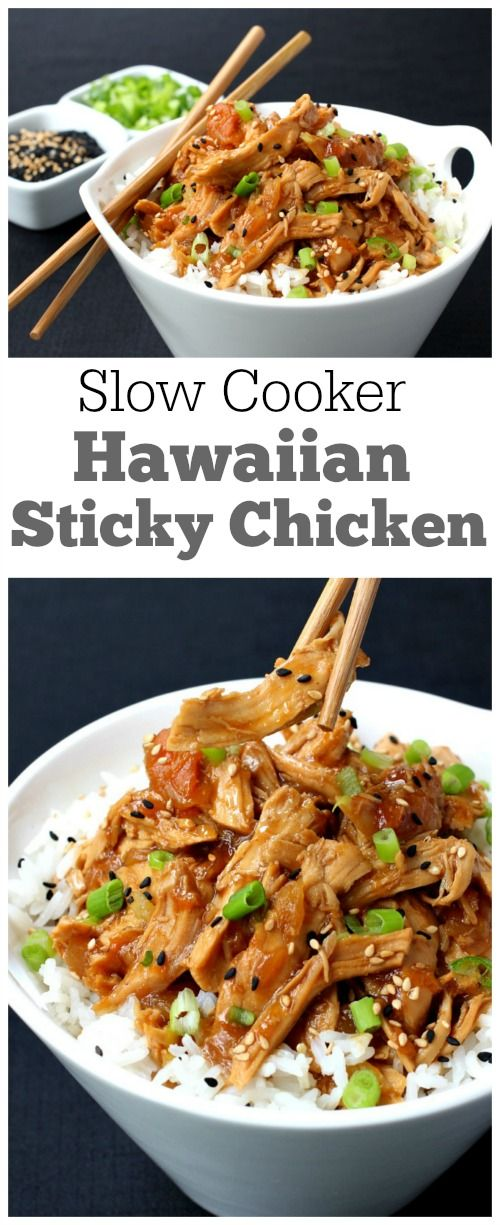 Slow Cooker Hawaiian Sticky Chicken Didn't add hoisin sauce and cut the can of pineapple to using half