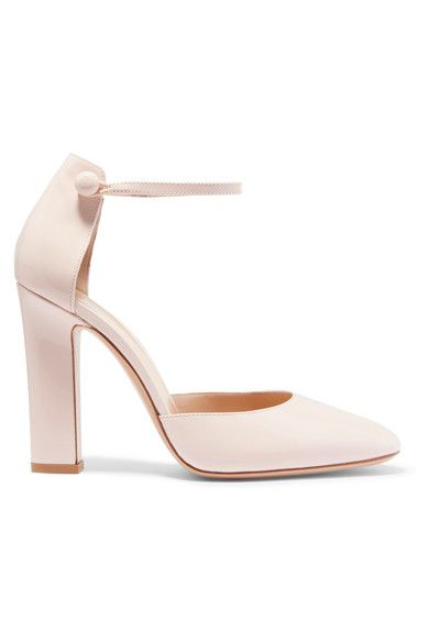 Heel measures approximately 105mm/ 4 inches Baby-pink patent-leather Button-fastening ankle strap Made in Italy