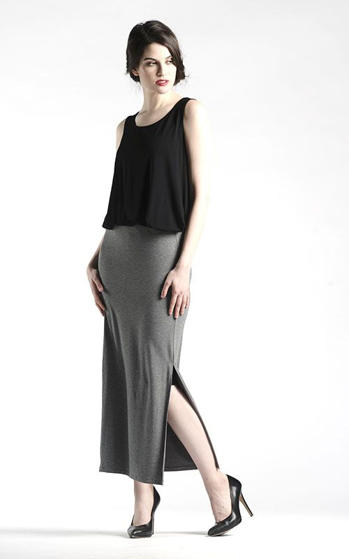 Stretch Straight Skirt with Slit in Grey - Made with our tried and true classic stretch jersey fabric , this skirt is a wonderfully figure flattering piece that can be worn as is or paired with tights underneath.  With plenty of stretch, a side slit facilitates movement as you take this skirt Day-to-Evening with ease! Available in Black and Grey.