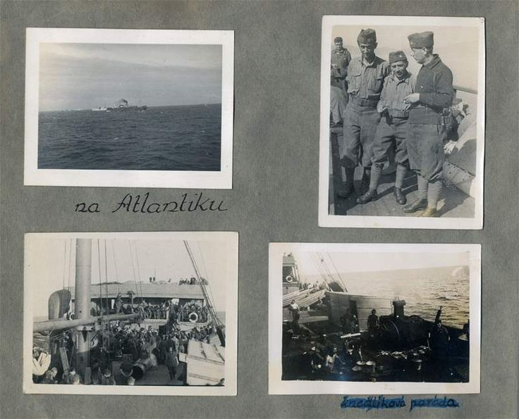 "On shipboard of Rod el Farag. (June 1940). Crossed out inscription at the foot of the page - ""Dumpling show"". Photoalbum of Jan Kubiš. Archive of Dusík family"