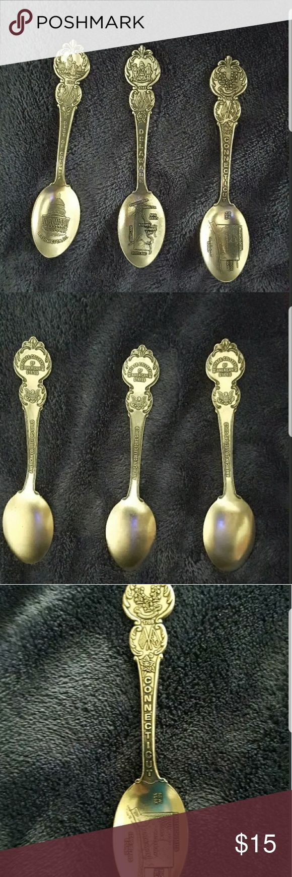 "American Collection Guild 3 Souvenir Spoons Beautiful Set of Three Americans Collection Guild Souvenir Spoons Heritage Collection Of US State.  State are : Washington ,Connecticut  , Delaware.  All in very good condition.  Approximately : 4 1/2"" long. American Collection Other"