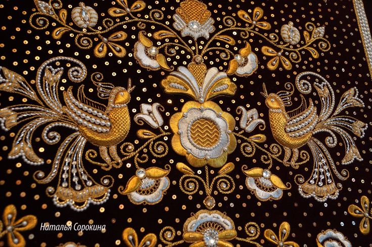 """My new interior work. Panels in the Russian style """"Garden of Eden"""", 2014-2015. The size of embroidery 48*48. Gold embroidery. Materials: velvet, gold thread, Swarovski crystals, GIMP, natural pearls, Swarovski pearls, beads."""
