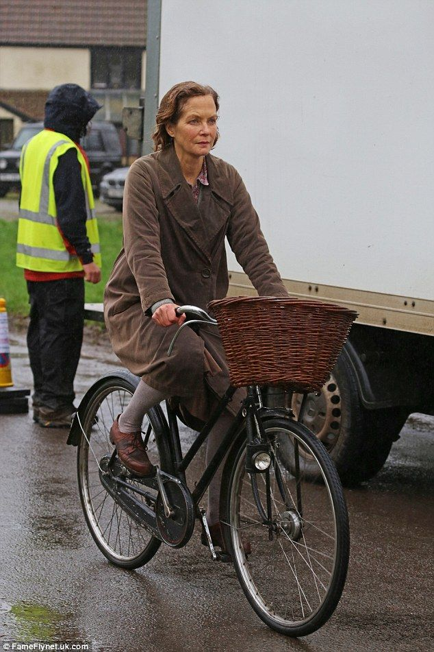 Focused: Jenny Seagrove cut a determined figure on set and looked at home on her ride