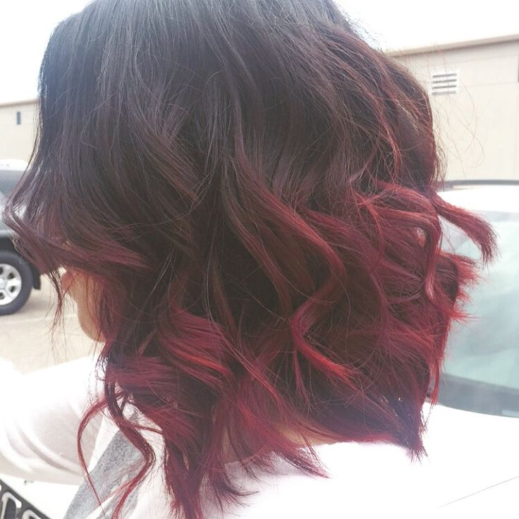 Red ombré curled short hair By China Alexander insta: chinalexander
