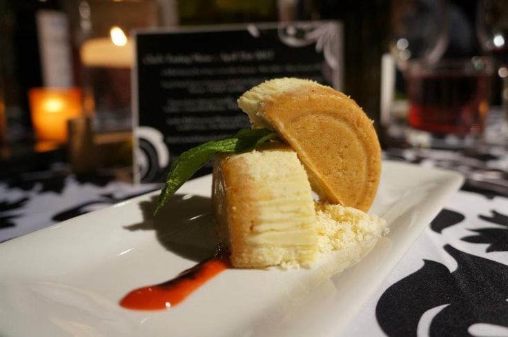 Individual Strawberry/Rhubarb Goat Cheese & Mascarpone cheesecake with ...