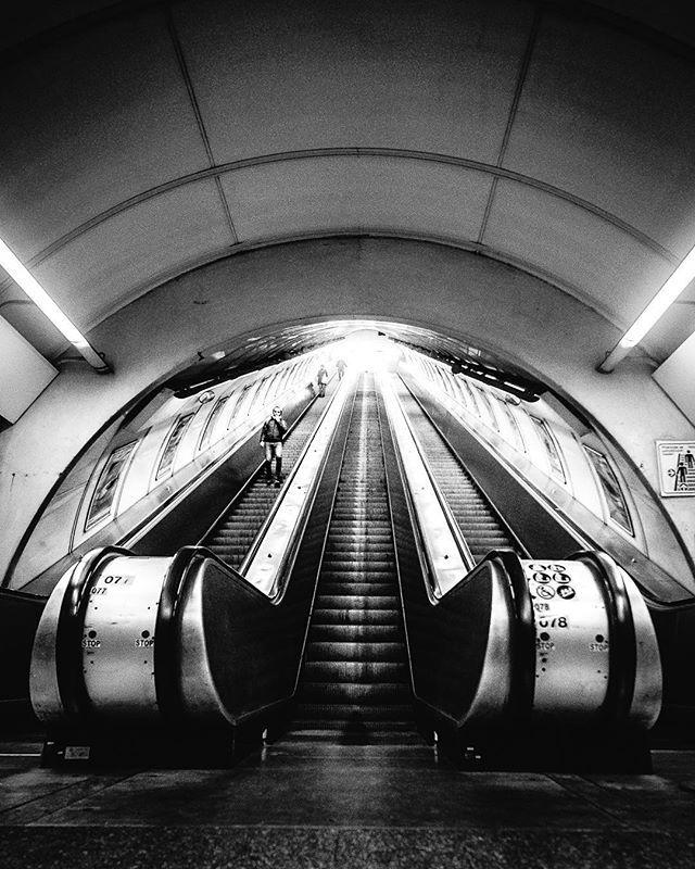 Worm's-eye view in the underground.  #prague #czechrepublic #fujifilm_xseries