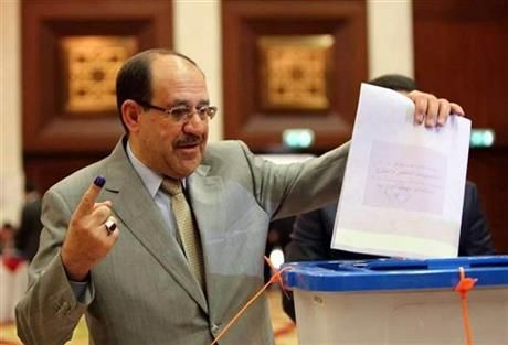 Iraqi Prime Minister Nouri al-Maliki prepares to casts his vote at a polling station in the heavily fortified Green Zone in Baghdad, Iraq, Wednesday, April 30, 2014. (AP Photo) ▼30Apr2014AP|Iraqis vote in an election without foreign troops http://bigstory.ap.org/article/iraq-holds-vote-it-slides-deeper-strife #Baghdad #vote #Nouri_al_Maliki