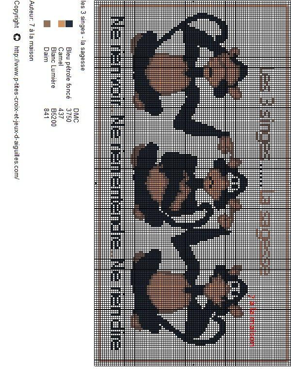 Voici les 3 singes - la sagesse en grille gratuite. Pour une meilleure impression, la grille à imprimer est la suivante :