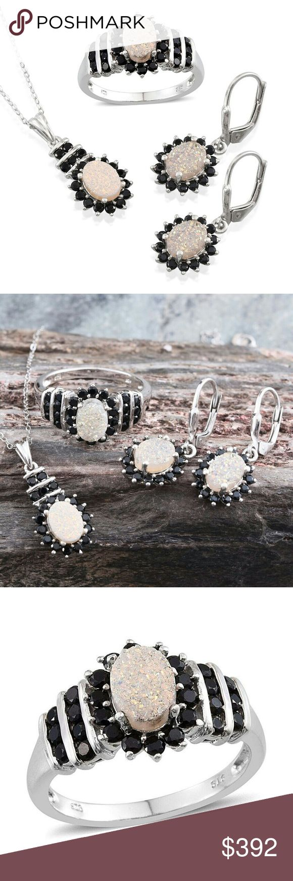 """Available June 6 Pearl Shimmer Drusy Quartz Set Pearl Shimmer Drusy Quartz Thai Black Spinel Platinum over Sterling SIlver Ring Sz 7, Earrings, and Pendant with Stainless Steel Chain 20"""". TGW 7.90 cts. Jewelry"""