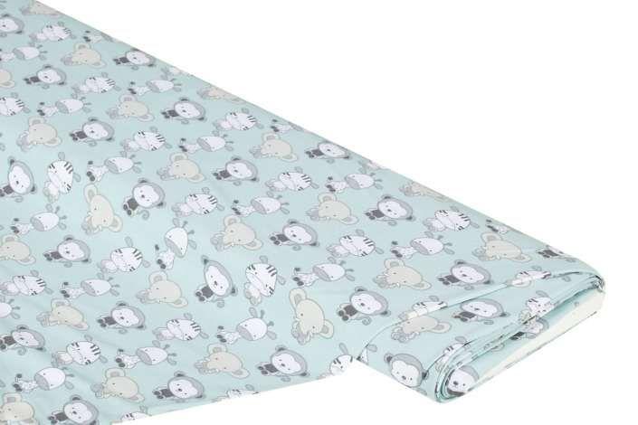 """Baumwoll-Jersey """"Zoo"""" mit Elasthan, Farbe: hellgrün-color, bi-elastisch, Motivgrösse: 3–5 cm, Breite: 150 cm, Gewicht: ca. 200 g/m². Material: 95 % Baumwolle, 5 % Elasthan. weicher Single-Jersey hoher Elasthan-Anteil mit süssen Tieren wie Zebras, Affen und Elefanten für niedliche KindermodeDieses zauberhafte Stoffdesign ist genau das Richtige für Baby- und Kindermode! Süsse Zootiere wie Zebras, Aff..."""