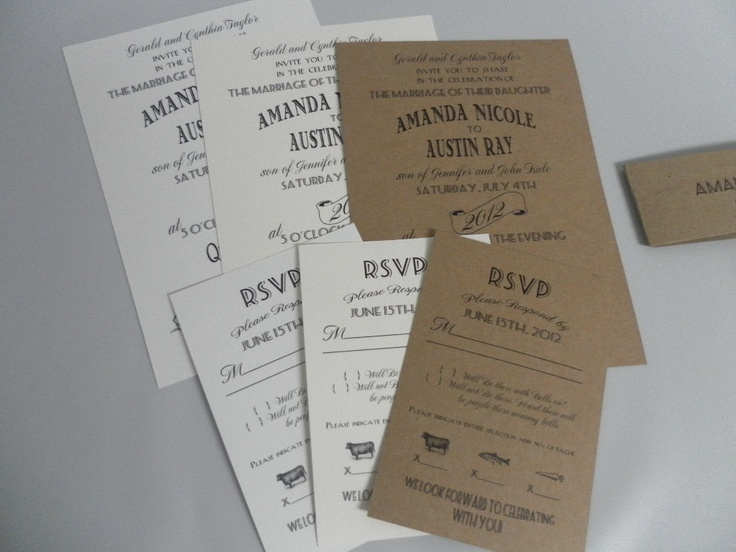 love the rsvp card food choice option Wedding Invitation