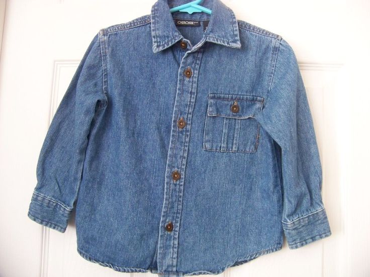 Toddler Girls/Boy Denim Shirt, Size 3 with Pocket on Left Front Side Cherokee(R) #Cherokee #JeanJacket #Everyday