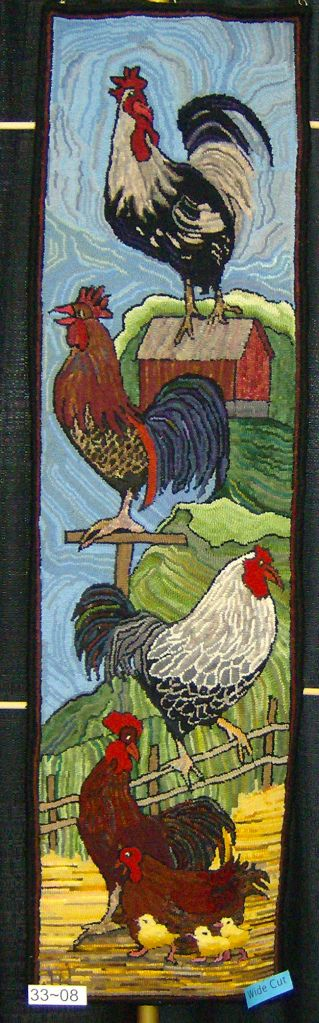 """{All the boys ready to crow} ~~ such a beautifully hooked rug!  Love all the movement in the background & the different """"positions"""" of these Roosters!  FUN Rooster colors & feathers...well done! ~♥~"""