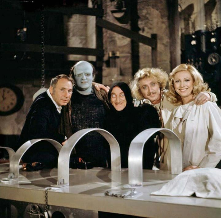 Young frankenstein cast with director Mel Brooks