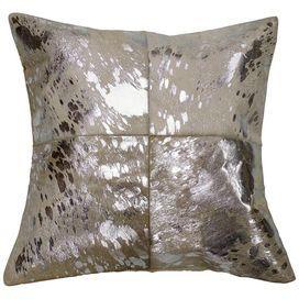Shoshoni Cowhide Pillow in White