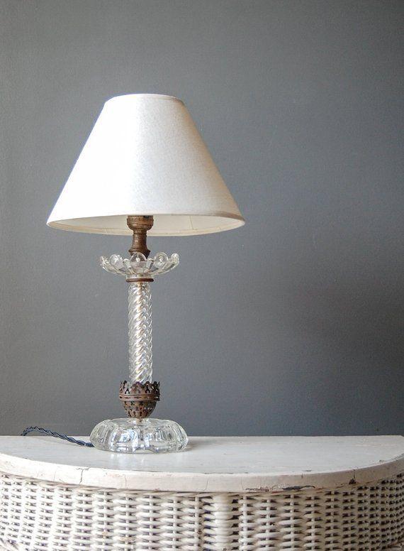 Reserved For C Glass Bedside Lamp Farmhouse Table Lamp Rewired Vintage Lighting Farmhouse Table Lamps Glass Bedside Lamps Lamp