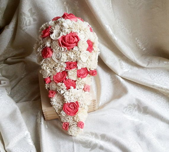 Big CASCADE/TEARDROP ivory and coral rustic wedding BOUQUET made of sola flowers (natural and hand dyed in coral) and burlap decorated with cotton