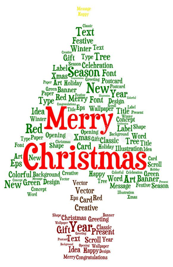 Merry Christmas Word Cloud In A Shape Of A Christmas Tree Vector Illustration Christmas Words Christmas Cards Wording Postcard Paper