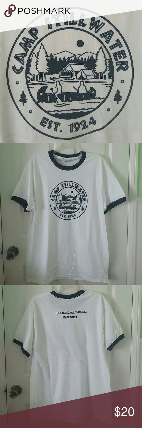Camp Stillwater T-shirt Dead of Summer size Large Limited release of Dead of Summer Camp Stillwater T-Shirt. White with navy blue font in size large. Never worn, brand new! Bundle and save! Dead of Summer Tops Tees - Short Sleeve