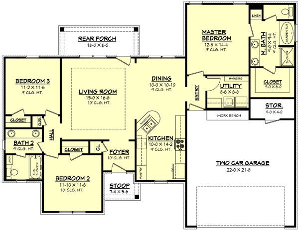 house+plans+1500+square+feet | 1500 square feet, 3 bedrooms, 2 batrooms, 2 parking space, on 1 levels ...