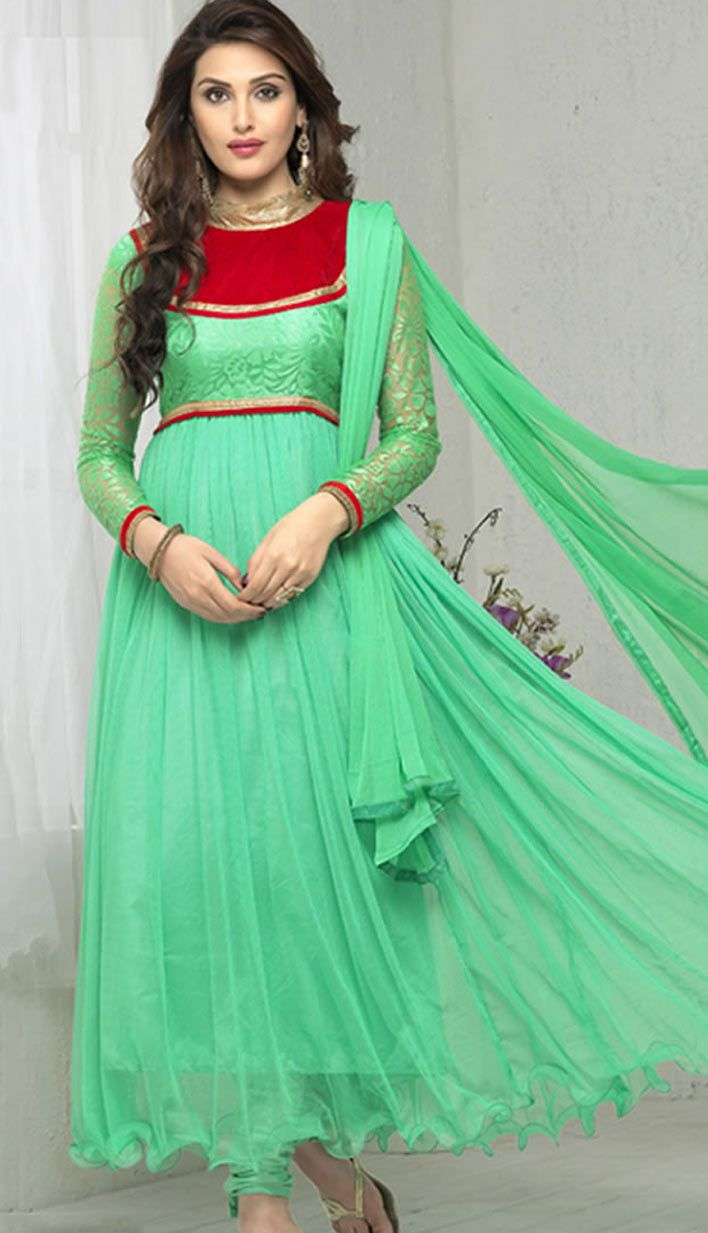 Latest Traditional Green Brasso Soft Nett Anarkali Suit, Dress