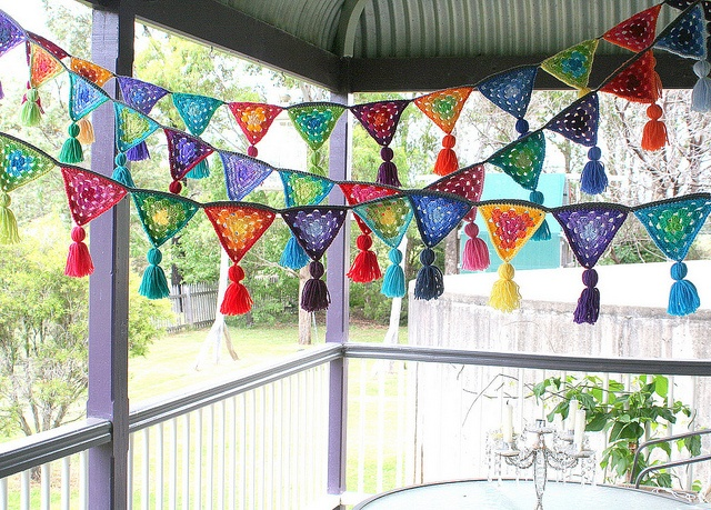 Crochet bunting: LOVE LOVE LOVE this idea! .. Not just outdoor bunting though .. Oh my mind just took OFF!