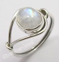 925 Sterling Silver Original OVAL RAINBOW MOONSTONE BESTSELLER Ring Any Size NEW