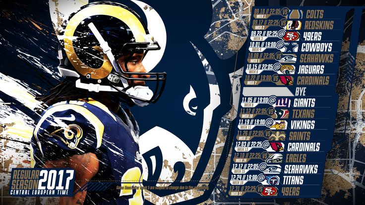 Schedule wallpaper for the Los Angeles Rams Regular Season, 2017 Central European Time. Made by #tgersdiy