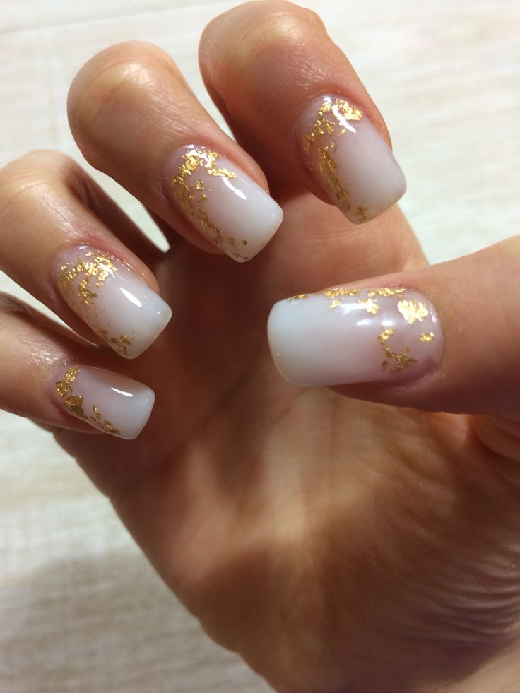 milky white gel nails with gold foil my nails. Black Bedroom Furniture Sets. Home Design Ideas