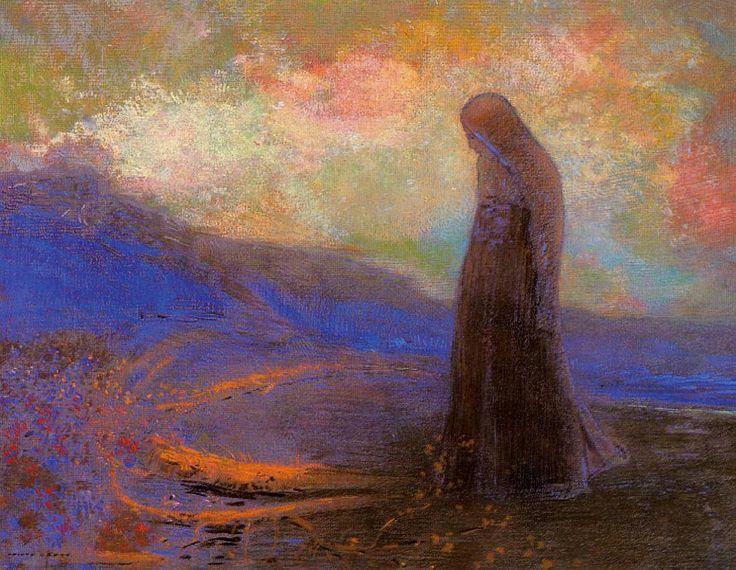 """Reflexión (1905) ODILÓN REDÓN Redon es uno de los primeros grandes pintores de la imaginación y el inconsciente (algo que, como podemos sospechar, lo convertirá en una importante influencia para los surrealistas). """"...la lógica de lo visible al servicio de lo invisible"""". Odilon Redon  https://www.facebook.com/3minutosdearte/posts/1794455520805877:0"""