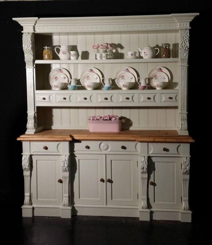 Charming Large Reclaimed Pine Farmhouse Kitchen Welsh Dresser Shabby Chic Farrow U0026  Ball #Farmhouse
