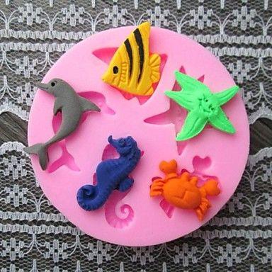 dolphin peixe caranguejo baking bolo fondant molde choclate doces, l6cm * * w6cm h0.9cm de 2016 por €15.20
