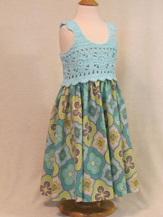Toddler dress with crochet bodice seafoam green by FeathersnFrocks