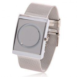 This is a good present for the man or relatives and friends who you love.$6.94 Chic Round White Dial and Square Case Steel Wristband Wrist Watch - Silver