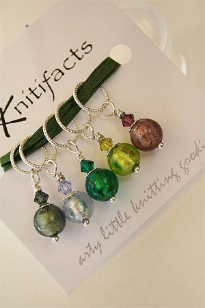 Knitifacts :: Traditionals - Sea Shells  Knitifacts Luxury Yarn Stitch Markers  Beautiful Venetian foil glass beads with crystal accents and sterling rings.