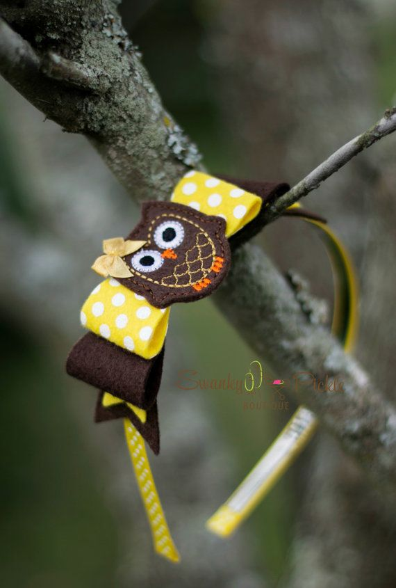 Owl Headband - Yellow Brown Headbead - Wool Felt Bow - Polka Dot Bow Headband…