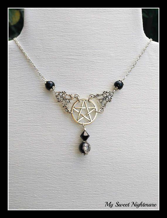 Collana pentacolo pentagramma wiccan ciondolo pagano stella a